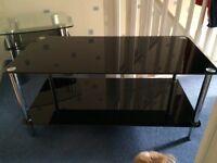 2 Tier Black Glass Coffee Table
