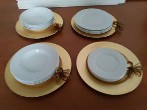 White 4 person plate set - LUBIANA