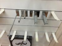 Assorted Slatwall Hooks and brackets reduced by loads, Starting price from 5p must come to see