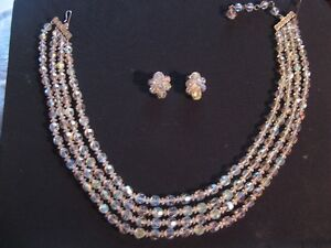 Sherman Crystal earring necklace ensemble West Island Greater Montréal image 1