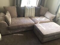 Four seater sofa and footstool with storage