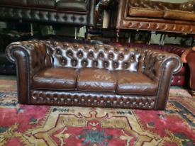 Pegasus Brown Chesterfield 3 Seater Sofa