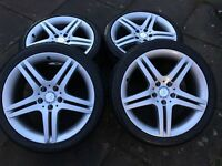 "MERCEDES 18"" ALLOY WHEELS & TYRES - genuine - staggered - £375"