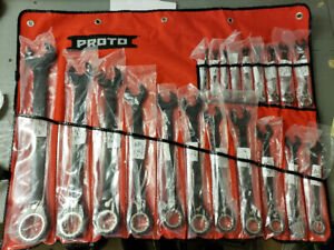 Proto 20 piece black chrome ratcheting box end wrench set
