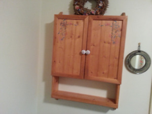PINE WALL CABINET/WITH STORAGE