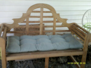 Wooden Patio  Bench with cushion seat