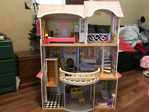 Wood Barbie Size Doll Play House with wooden furniture