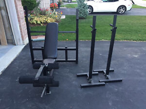 Squat bar bench and sets of weights