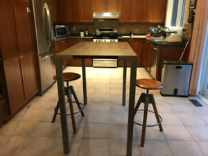 "CB2 stilt 42"" high dining table"