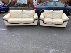 20. 3+2 cream and black leather sofa