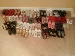 39 pairs of baby girl shoes new born to size 8 $35 or make offer