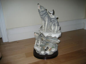 Wolf Sculpture Wildlife Animal Decor