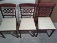 3 vintage folding wooden chairs