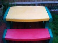 Children's plastic outside picnic table