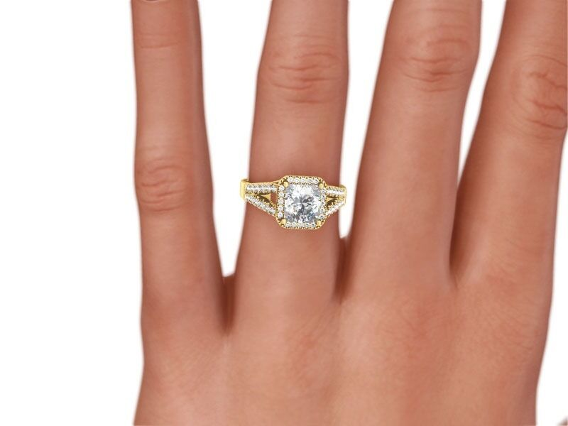 2 Carat Radiant D/vs1 Diamond Solitaire Engagement Ring  Yellow Gold Enhanced