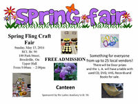Spring Craft Fair  Sunday May 15/2016  9am to 2pm      Free admi