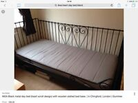 Black IKEA single metal framed day bed with slats and mattress !