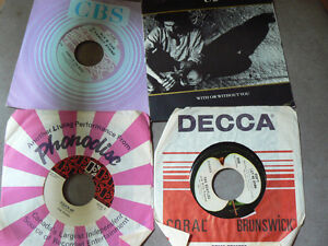 45 rpm records from the 60s 70s and 80s, Doors, Beatles, U2