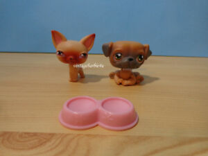 Littlest Pet Shop LPS Puppy Dog Lot 2004 Chihuahua #1 & Pug #2