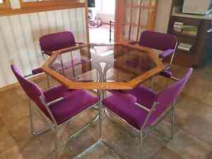 Glass Octagon Table with 6 Chairs  $100 OBO