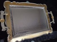 new tray 34x45 cm Gold and silver ,