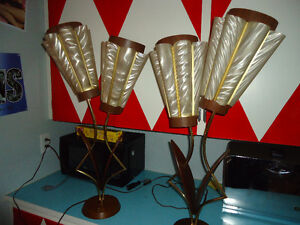 PAIR OF MAJESTIC FLOWER LAMPS RARE!!!