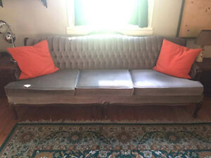Vintage Olive Green Velour Couch and matching chairs Stratford Kitchener Area image 1