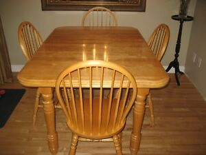 Solid Birch Dining Room Table & 6 chairs - $600 obo