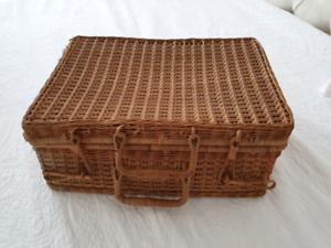 Vintage cane suitcase picnic basket