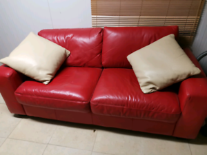 2x Red Fold Out Sofa Beds