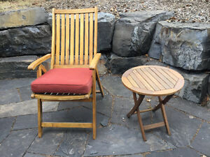 Gardenia teak patio chairs and side tables