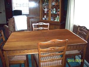 Antique seven piece walnut dining room set
