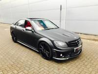 2008 Mercedes-Benz C63 AMG 6.3 + MATT SATIN BLACK + CARBON BODYKIT + RED LEATHER