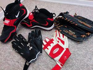 Football Cleats & Gloves/ Baseball Gloves