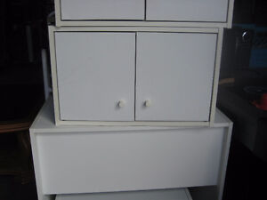 Assorted White Stackable Shelving / Cupboards