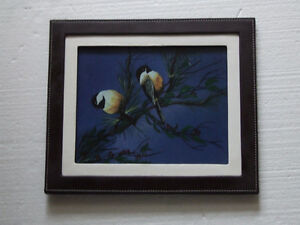 Decorative leather framed bird scenery print accent London Ontario image 2