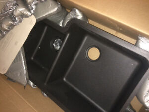 new undermount quarts granite sink black