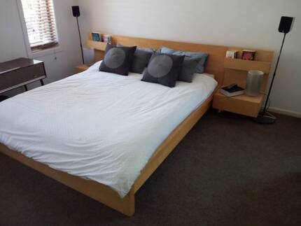 Ikea Malm Double Bed + Mattress 2x Side Tables