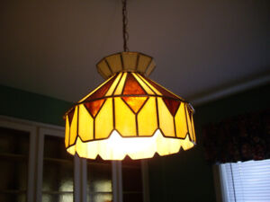 TIFFANY, GLASS ,CHANDELIER HANGING CEILIENG , TUBE LIGHTS