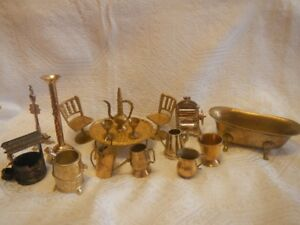 Vintage Dollhouse Brass Metal Miniatures / Furniture Set of 15