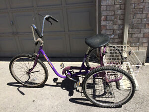 Rare, vintage De Soto DeSoto adult tricycle with shopping basket