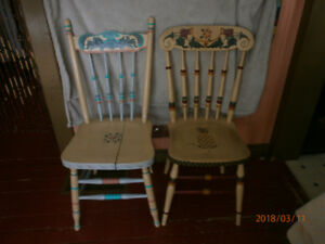 2 Antique Press Back Chairs