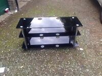 """Large black glass TV stand """"FREE LOCAL DELIVERY """" £45"""