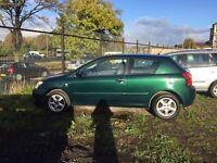 04 plate Toyota Corolla 3. Door green 1.4 petrol **motd till 23/06/2017**