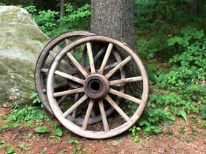 Antique Wooden Iron Rimmed Wagon Wheels
