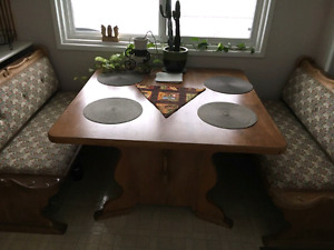 Hand carved dining table and chairs