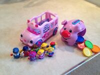Fisher price school bus & piggy bank toys