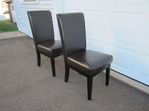 Espresso Leather Dining Chairs