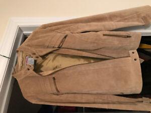 Men's suede cafe racer motorcycle jacket