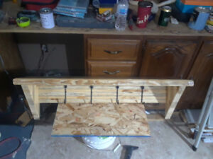 Hand made bench/ coffee table and coat rack